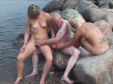 Grandpa And Teens In Public Park And Beach