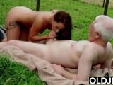 Horny Teen Farm Girl Masturbating And Fucks Old Man In Hard Old Young