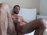 Hairy Hunk Cum On His Leg